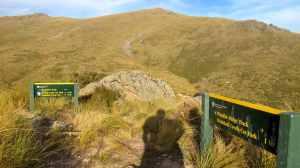 Trail junction atop Rhyolite Ridge.